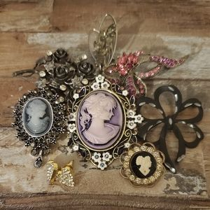 CAMEO pin brooch lot of 7 + earrings